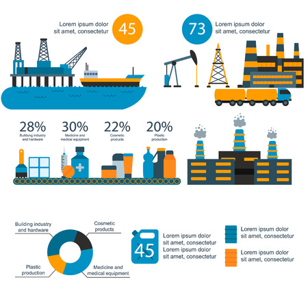Oil gas industry vector manufacturing gas infographic world oil production distribution petroleum extraction illustration Ilustrace
