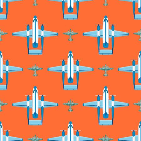ベクトル飛行機イラストのシームレスなパターン背景航空機輸送の方法デザイン旅速航空を旅行します。