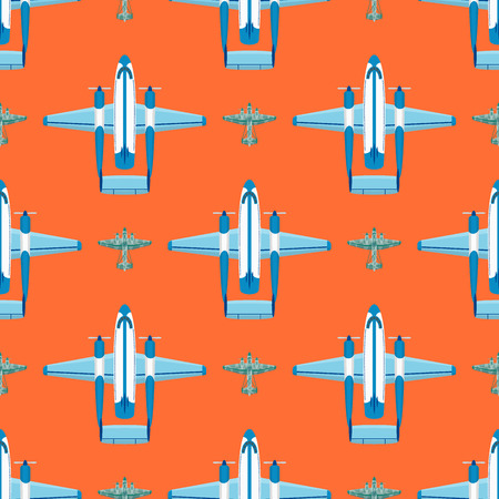 Vector airplane illustration seamless pattern background aircraft transportation travel way design journey speed aviation.