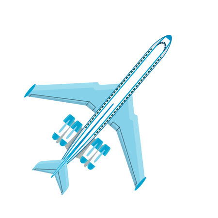 Vector airplane illustration plane plane top view passenger trip and aircraft transportation travel way to vacation sky design journey international object. Commercial tour speed plane aviation.