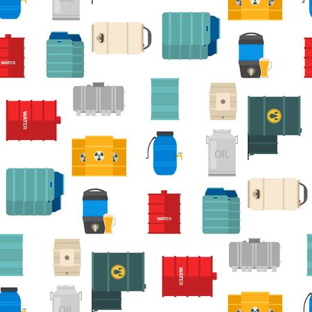 Diferentes bidones de aceite alimentan las filas de almacenamiento de barriles líquidos de contenedores de tanques de capacidad de barriles de acero. Vector inconsútil del recipiente químico de los intestinos del fondo inconsútil del modelo del metal.