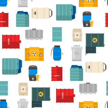 Different oil drums fuel container liquid cask storage rows of steel barrels capacity tanks. Natural metal seamless pattern background bowels chemical vessel vector.