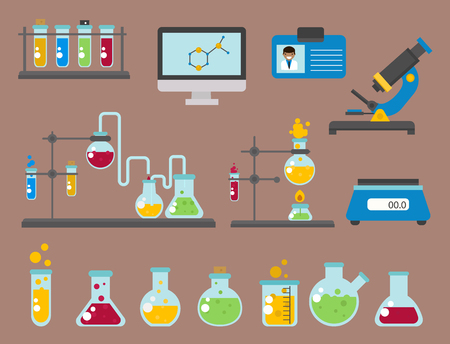 Lab symbols test medical laboratory scientific biology design molecule biotechnology science chemistry icons vector illustration. Experiment research equipment.