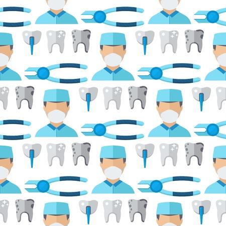 의사 치과 의사 직업 characterss 원활한 패턴 배경 stomatology 의료 사람들이 벡터 일러스트 레이 션의 남자와 여자 플랫 스타일 의학 작업자입니다. 일러스트