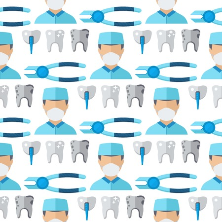 Doctors dentist profession charactsers seamless pattern background stomatology medical people vector illustration of man and woman flat style medicine worker.