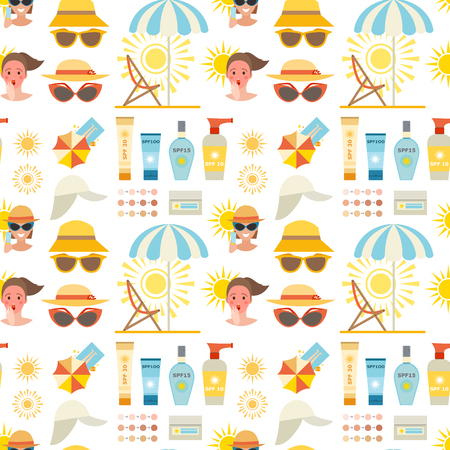 Beach accessories summer suntan vector fashion beach travel beautiful tropical lifestyle people illustration. Human cute woman degree of sunburn seamless pattern background.