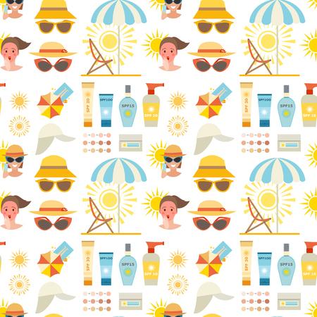 Beach accessories summer suntan vector fashion beach travel beautiful tropical lifestyle people illustration. Human cute woman degree of sunburn seamless pattern background.