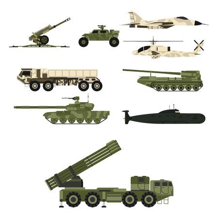 Militaire transporttechniek leger oorlog tanks industrie techniek pantser systeem gepantserde personeel leger camouflage dragers wapen vectorillustratie. Vechtende strijdkrachten transport. Vector Illustratie