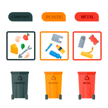 Recycling garbage elements concept and waste ecology can bottle recycling disposal box. Recycling garbage waste types sorting processing, treatment remaking trash utilize icons vector illustration.