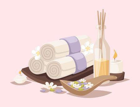 ベクトル アイコン治療美容プロシージャ ウェルネス スパ マッサージ ハーブ化粧品アロマ スパ石タオルとロータスの花のイラスト。
