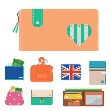 財布財布ベクトルお金ショッピングは、ビジネス金融財布支払いバッグや財布アクセサリートレンディな現金富のファッションイラストを購入しま