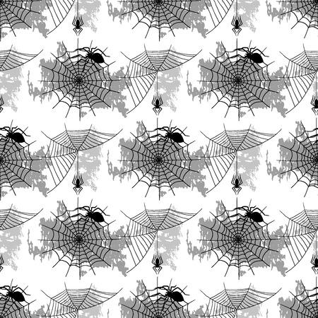 ベクトルクモのウェブシルエット不気味なクモは、シームレスなパターンの背景ハロウィーンのクモの装飾恐怖不気味なネット。