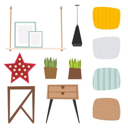 Furniture vector room interior design apartment home decor concept flat contemporary furniture architecture indoor elements illustration Illusztráció