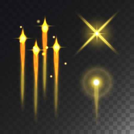Glowing vector lights and stars effect