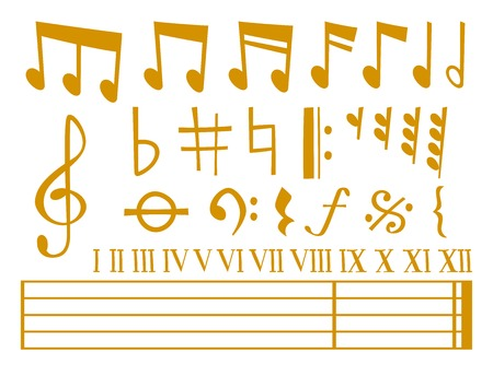 Musical notes and musical symbols vector illustration 일러스트