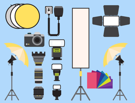Photo studio icons vector illustration