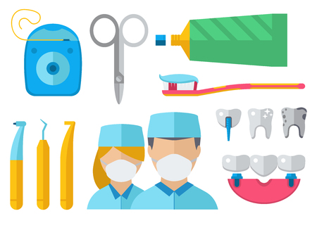 Dental character and equipment vector illustration