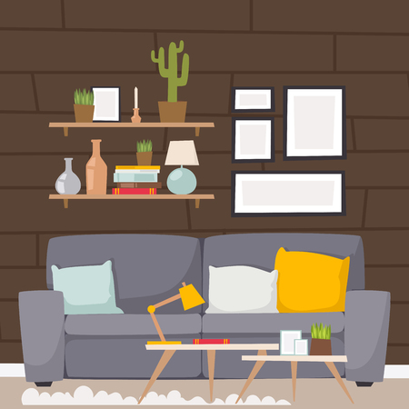 Room interior design illustration.