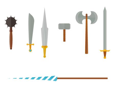 Knight wapens pictogram. Stock Illustratie