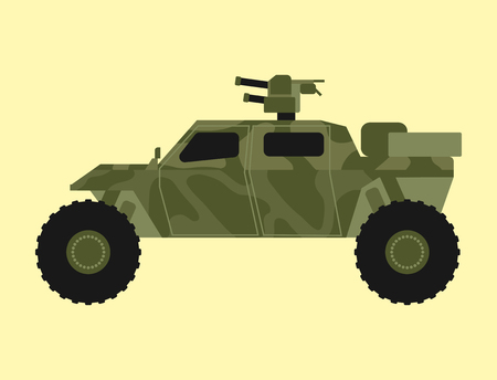 Militaire transporttechniek leger oorlog tank industrie techniek pantser systeem gepantserde personeel camouflage dragers wapen vectorillustratie.