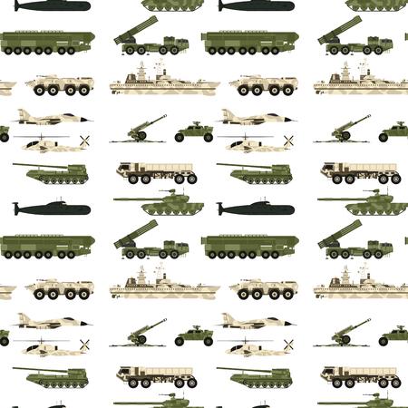 Militaire transporttechniek leger oorlogstanks industrie techniek pantser systeem gepantserde personeel camouflage naadloze patroon achtergrond vectorillustratie.