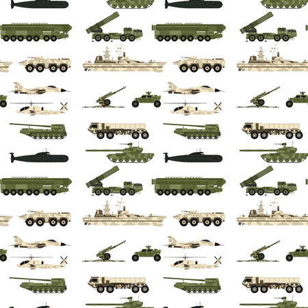 Military transport technic army war tanks industry technic armor system armored personnel camouflage seamless pattern background vector illustration.