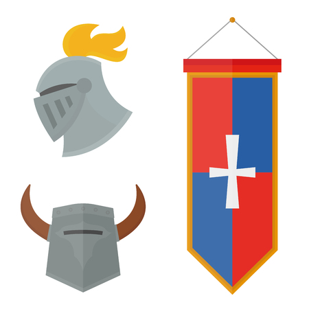 Knight helmet medieval weapons heraldic knighthood protection medieval kingdom gear knightly vector illustration.