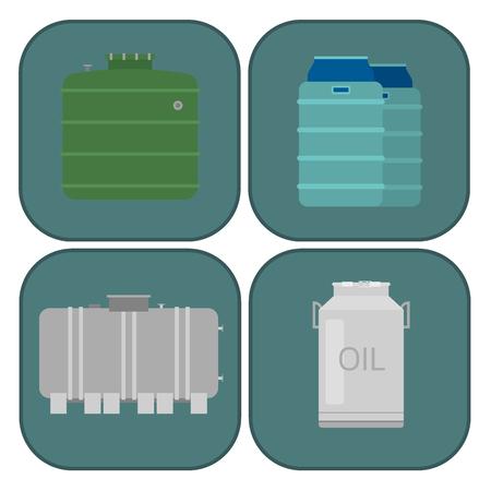 Stack different oil drums fuel container liquid cask storage rows of steel barrels capacity tanks. Natural metal old oil bowels chemical vessel vector set. Illusztráció