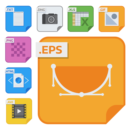 File types vector icons and formats labels file system icons presentation document symbol application software folder illustration. Archive, illustration. picture image, print Stock Illustration - 92151031