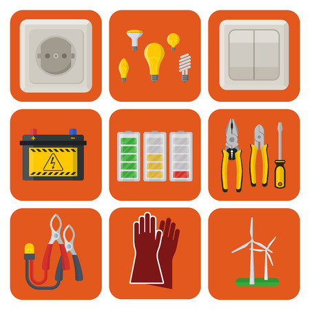 Energy electricity vector power icons battery illustration industrial electrician voltage electricity factory safety socket technology Stok Fotoğraf - 92151207
