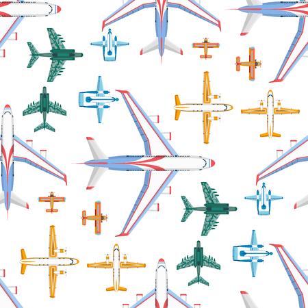 飛行機のイラストパターン。