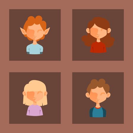 Character various vector boy and girl face avatar fashion hipster male hairstyle head person with mustache illustration Banque d'images - 91912924