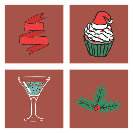 Christmas greeting card vector background with red ribbon, cupcake, cocktail and mistletoe