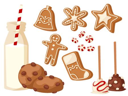 Traditional christmas food vector illustration.