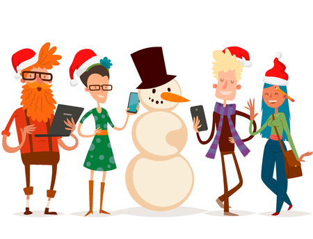 Christmas greeting card for business people vector Illustration