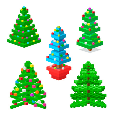 Pine tree pixel green vector