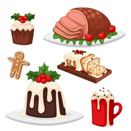 Christmas food and desserts vector illustration Illustration