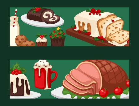 Christmas food banner and desserts holiday decoration xmas sweet celebration vector traditional festive winter cake homemade dish. Illustration