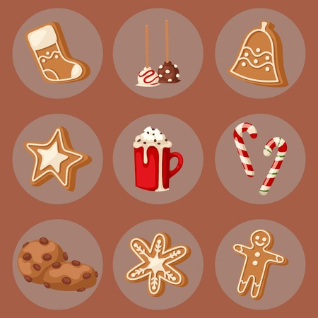 Cookie traditional christmas food cards desserts holiday decoration xmas sweet celebration meal. Vector traditional festive winter cake homemade delicious. Illustration