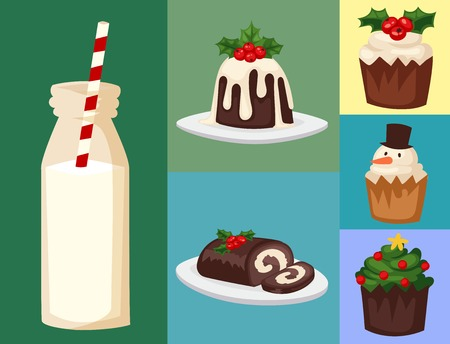 Christmas food and desserts holiday decoration xmas sweet celebration vector traditional festive winter cake homemade dish. Seasonal decorative meal dinner.