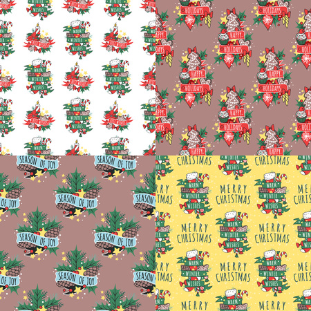 Christmas vector seamless pattern New Year hand drawn card design style holiday wallpaper decoration Christmas background. Paper ornament winter wrapping fabric vintage card.