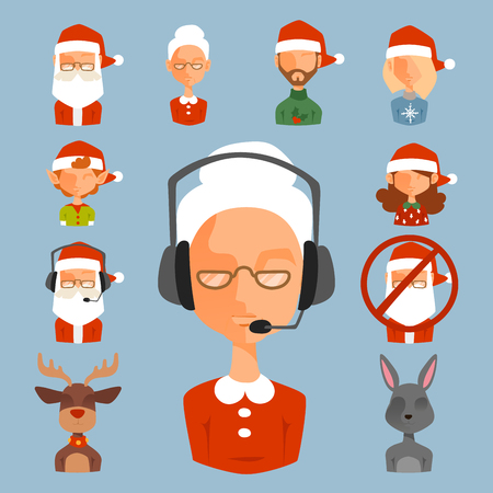 Santa Claus avatar face characters vector face avatars like santa claus, elf, deer, snowman illustration