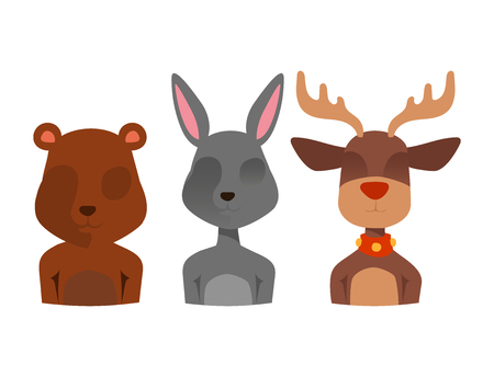 Christmas vector reindeer character New Year illustration deer animal for Santa Claus.