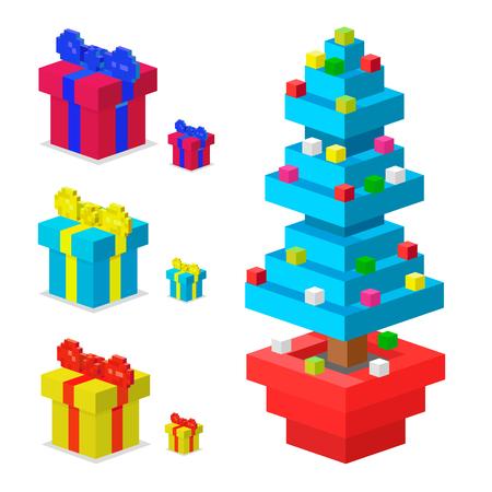 Pine tree pixel. Illustration