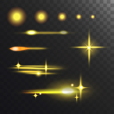 Glowing vector lights effect and stars effect glow blur stars glowing isolated on dark transparent background illustration. Abstract glow blur stars design flare glitter. Illustration