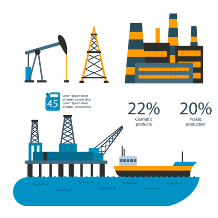 Oil gas industry vector manufacturing gas infographic world oil production distribution petroleum extraction illustration Illustration