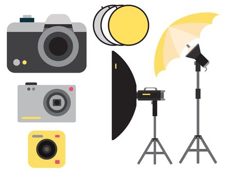 Camera foto vector studio pictogrammen optische lenzen types objectieve retro fotografie apparatuur professionele fotograaf kijken illustratie.