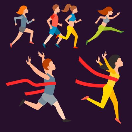 アスレチックランイラスト、夏にジョギングする人、スポーツ、ランニングの人、楽しむ男女、ランナー、健康的なライフスタイルイラストを行使。 写真素材 - 93599485