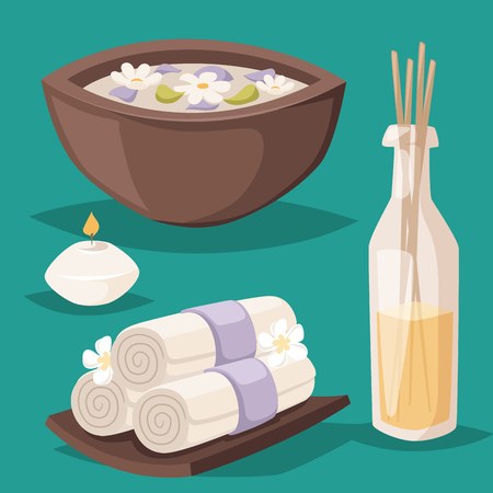 Spa vector icons treatment beauty procedures wellness spa-massage herbal cosmetics aroma spa stones towels and lotus flower illustration.