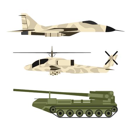 Militaire leger transport techniek vector oorlogstanks industrie techniek pantser systeem gepantserde leger personeel camouflage dragers wapen illustratie.